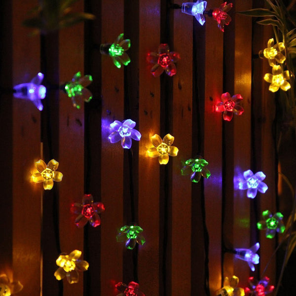 Multi Colored 50 LED Peach Blossoms String Curtain Light
