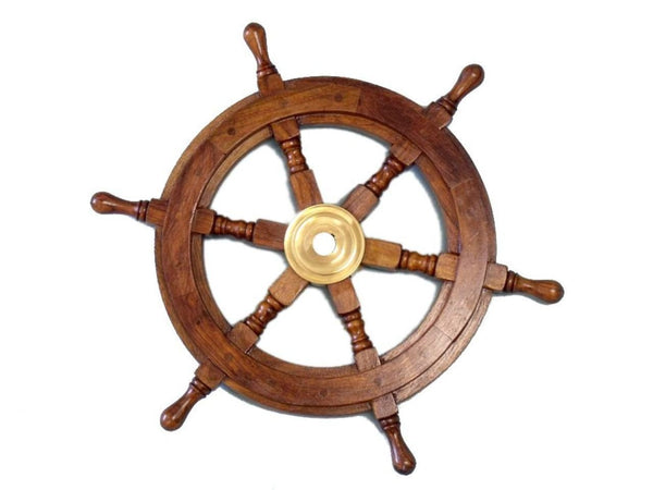 "Nautical Deluxe Class Wood and Brass Decorative Ship Wheel 15"" Nautical Home Decoration Gifts"