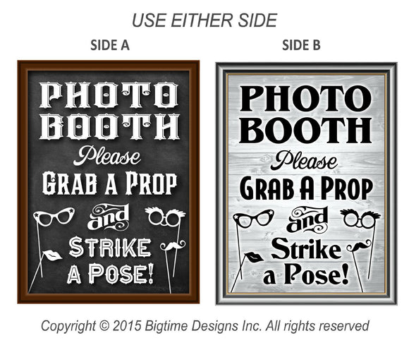 Photo Booth Prop Sign Dual Sided Chalkboard / Rustic Vintage 16
