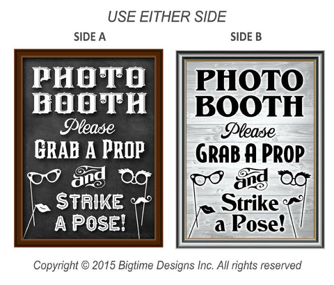 "Photo Booth Prop Sign Dual Sided Chalkboard / Rustic Vintage 16"" X 12"" Sturdy Strong"