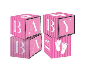 Pink and White Baby Shower Sweet Little Feet Cardstock Blocks Centerpiece Decoration Favors