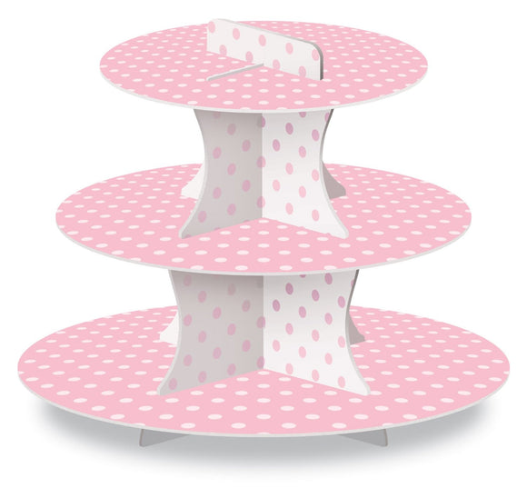 Pink and White Cupcake Stand Polka Dots Baby Shower