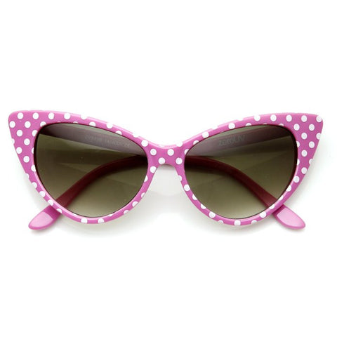Pink with White Polka Dot Rockabilly Nostalgic Retro Cat Eye Womens Mod Fashion Super Cat Sunglasses