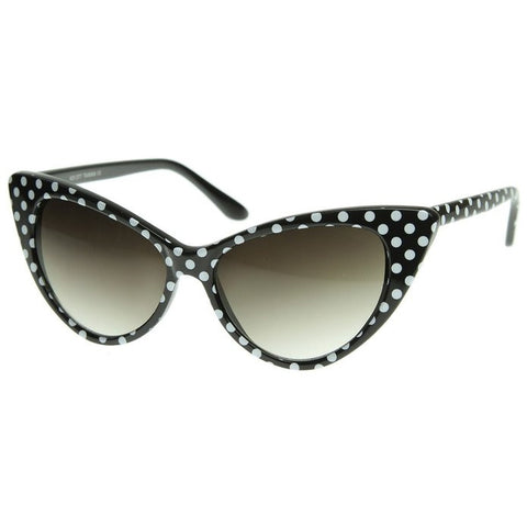 Black with White Polka Dot Rockabilly Nostalgic Retro Cat Eye Womens Mod Fashion Super Cat Sunglasses