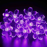 Purple 50 LED Peach Blossoms String Curtain Light for Christmas Wedding Garden Party Home Decoration