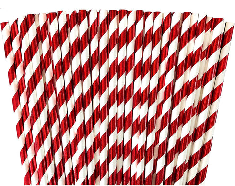 Red Foil Stripe Paper Drinking Straws Valentine 100 ct
