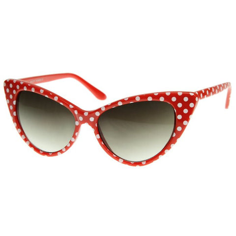 Red with White Polka Dot Rockabilly Nostalgic Retro Cat Eye Womens Mod Fashion Super Cat Sunglasses