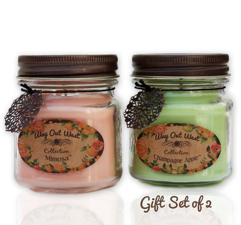 Scented Jar Candles Set of 2 Mimosa & Champagne Apple Fragrance 8 oz each