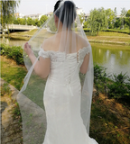 White Bridal Cut Edge One Layer Lace Veil 6.5ft