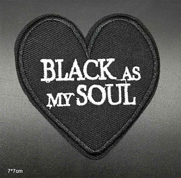 1 PC Black as My Soul Embroidered Iron on Patch Applique BS1130