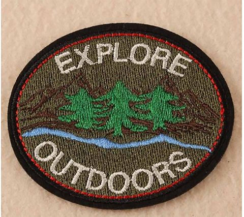 1 PC Explore Outdoors / Pine trees / Nature /  Embroidered Iron on Patch Applique EO1130