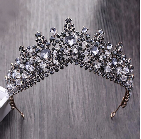 Black Charcoal Rhinestone Bronze Tiara / Princess Prom Wedding Bridal Hair Jewelry Quinceanera Pageant headband Crown CT1208