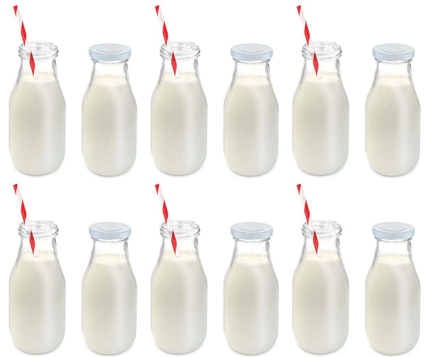 Set of 12 Glass Milk Bottle Includes Reusable Lids and Straws 11-Oz each