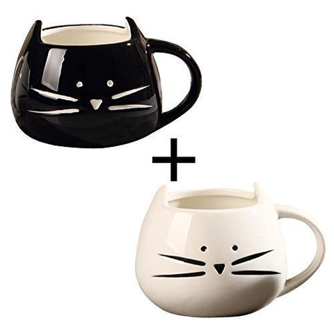 Set of Black and White Cat 10 Oz Coffee Cup Mug