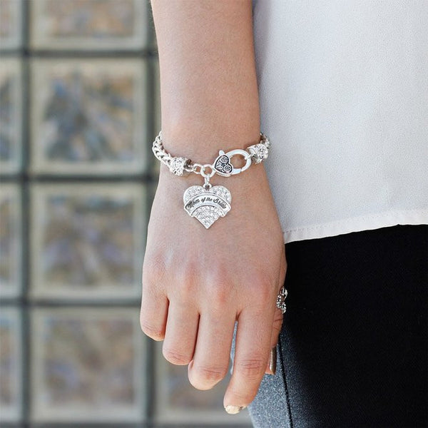 Silver tone mom of bride gift bracelets pave heart silver plated lobster clasp silver grande