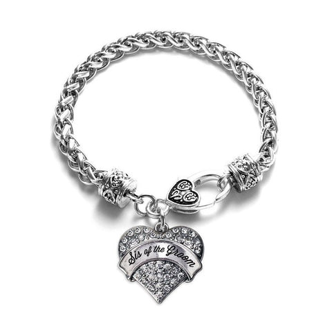 Silver Tone Sis of Groom Gift Bracelets Pave Heart Silver Plated Lobster Clasp