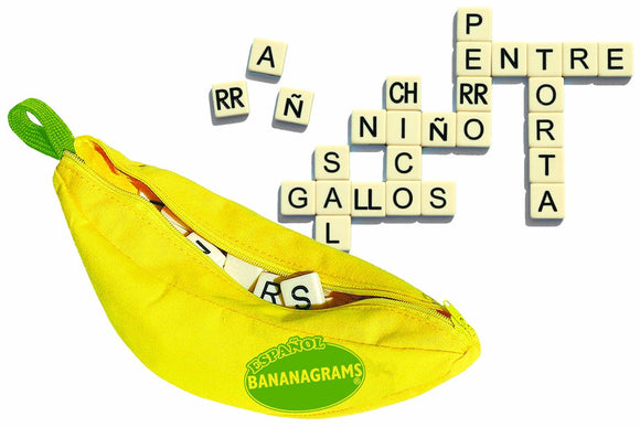 Spanish Bananagrams Learn Spanish Anagram game Banana Bag