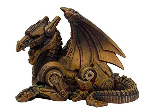 Steampunk Sitting Winged Dragon Resin Statue Figurine Bronze Colored Resin