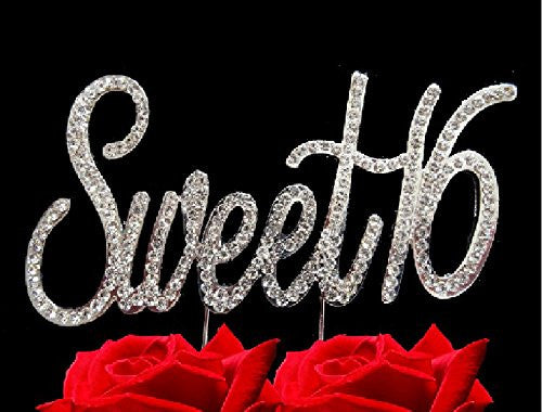 Sweet 16 Birthday Bling Sweet Sixteen Party Supplies Centerpiece Cake Topper Genuine Crystal Rhinestones Elegant