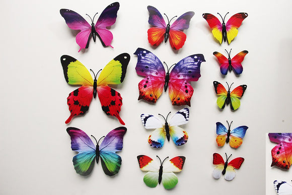 12Pc 3D PVC Butterflies Wall Stickers Decoration Wedding Cake Toppers Home Decor School Craft DIY  Multi311