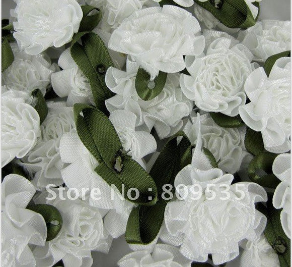 180 pc White Satin Ribbon Flower Carnation Rose Buds