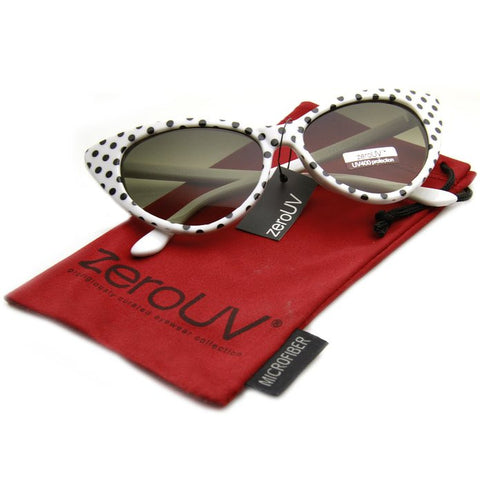 White with Black Polka Dot Rockabilly Nostalgic Retro Cat Eye Womens Mod Fashion Super Cat Sunglasses