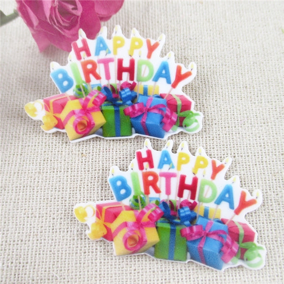 12pc Happy Birthday Party Toppers Planar Resin  Embellishments HB5117