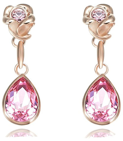 18k Rose Gold Plated Flower Dangle Earrings Enriched with Swarovski Crystals - Great for Mother's Day