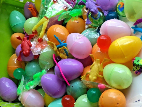 "50 Pre Filled Toys Easter Eggs Ready to Play 2"" Pastel Plastic Egg Tattoos Stretchy Erasers Bounce Ball Fun Kids Children"
