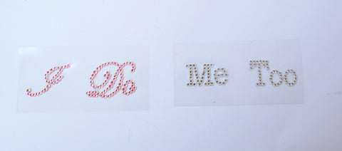 I do, me Too, Wedding Clear Pink Acrylic Bling Adhesive Decals Stickers for Bride and Groom Shoes 1 PAIR