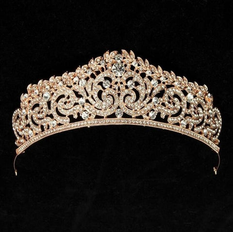 Gold Tone Metal Clear Crystal Tiara / Princess Prom Wedding Bridal Hair Jewelry Quinceañera Pageant headband Crown GT0303
