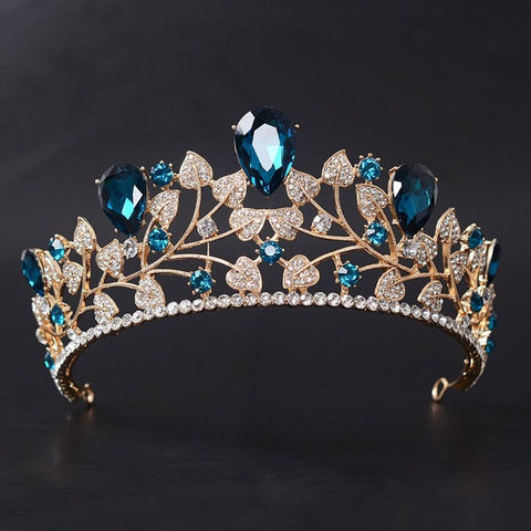 Teal Blue Clear Crystal Rhinestone Gold tone Tiara Princess Prom Wedding Bridal Hair Jewelry Quinceanera Pageant headband Crown TC0515