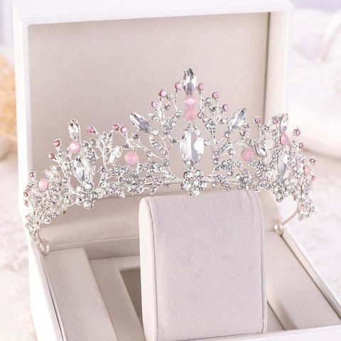 Light Pink Clear Crystal Stones Silver  tone metal Tiara Princess Prom Wedding Bridal Hair Jewelry Quinceanera Pageant headband Crown CP0515 S