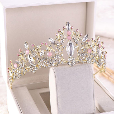 Light Pink Clear Crystal Stones Gold tone metal Tiara Princess Prom Wedding Bridal Hair Jewelry Quinceanera Pageant headband Crown CP0515