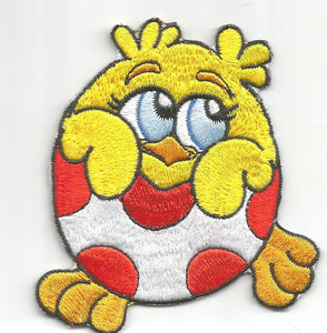 Yellow Baby Chick Red White Egg Embroidered Floral Iron On Patch Applique 56167