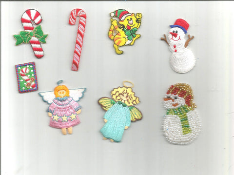 8 pc Christmas Holiday Candy Cane Snowmen Angel Cat Adorable Iron On Patch Applique 061716