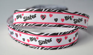 "10YD Big Sister zebra Grosgrain Ribbon 7/8 "" az39"