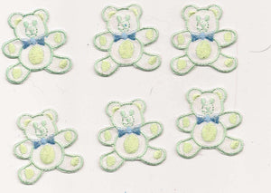 Shiny Mint Green and Blue Bear Iron On Patch Applique 6 PC