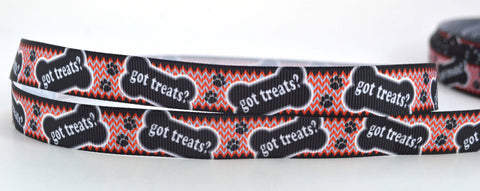 "Got Treats Dog Cat Paws Zig Zag Printed Grosgrain Ribbon 5/8"" Scrapbooking HairBows Parties DIY Projects GT012318"
