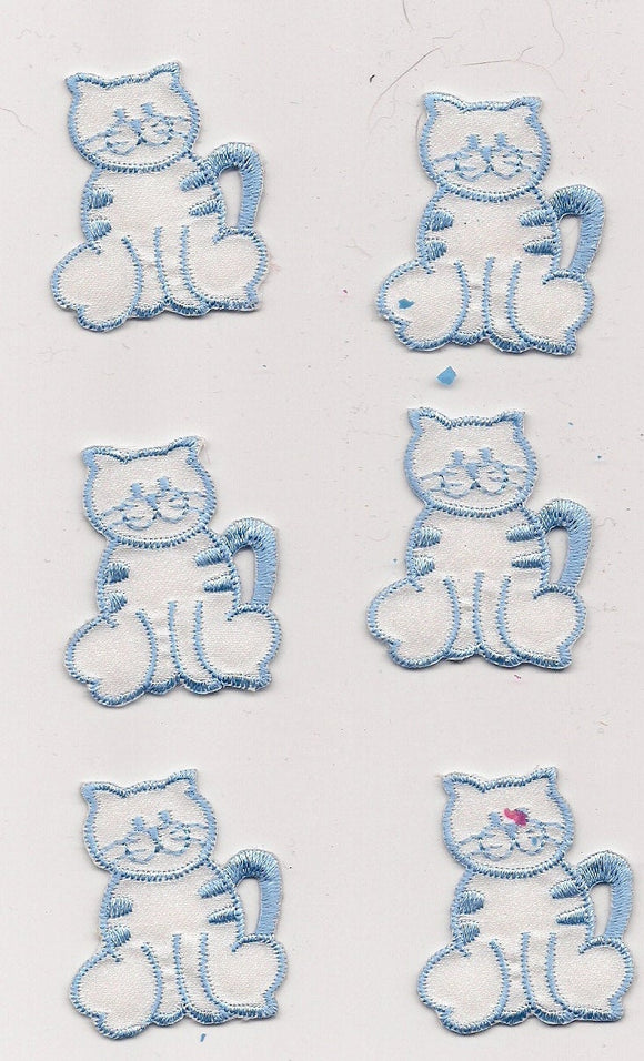 Soft white Blue Cat Feline Kitty Iron On Patch Applique 6 pc