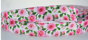 "10 YD Pink Rose Floral Printed Grosgrain Ribbon 1"" Wide"