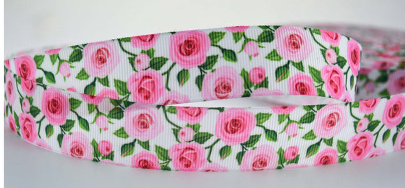 10 YD Pink Rose Floral Printed Grosgrain Ribbon 1