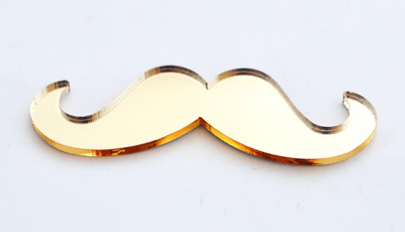 12pc Gold Mirror Mustache Toppers Planar Resin Flatback GM031517