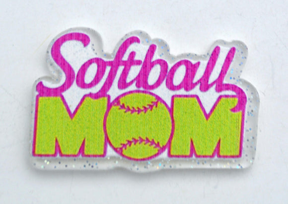 12pc Softball Mom Party Toppers Planar Resin Flat back