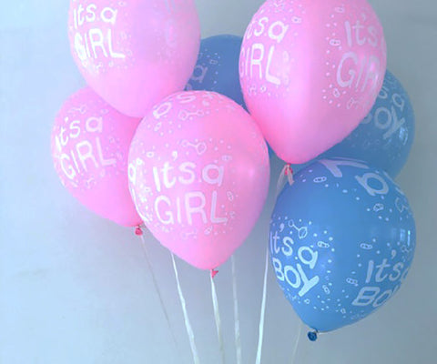 "Baby Shower Balloons 5"" It's a girl It's a Boy Latex Party Supplies Decoration Celebration Pink Blue Surprise Revealing"