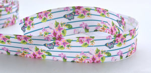 "10YD Light Purple Rose Floral Blue Lines Butterflies Printed Grosgrain Ribbon 1"" Wide Scrap book  LP4917"