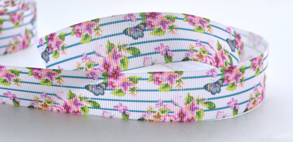 10YD Light Purple Rose Floral Blue Lines Butterflies Printed Grosgrain Ribbon 1