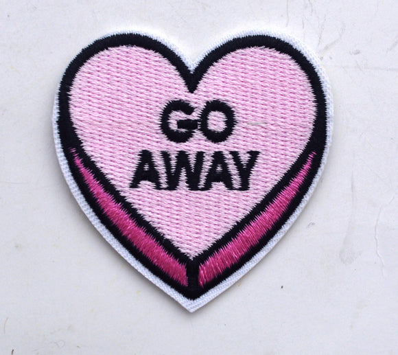 Go Away Conversation Heart Embroidered Bulk Iron On Patch Applique GA41717