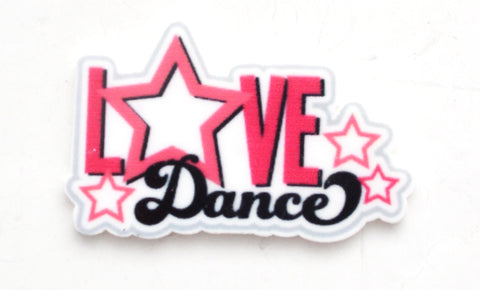 Love Dance Pink Black Stars Planar Resin  Flat back Embellishments Centers LD5117