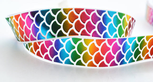 10YD Rainbow Mermaid Iridescent Tail Fish Scales Grosgrain Ribbon 1
